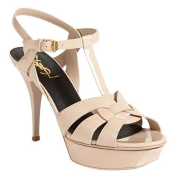 Pre-Owned Yves Saint Laurent Tribute Sandals Nude Heels Strappy Sz 37... ($720) ❤ liked on Polyvore featuring shoes, sandals, neutral, high heeled footwear, nude sandals, high heel stilettos, high heel sandals and platform stilettos