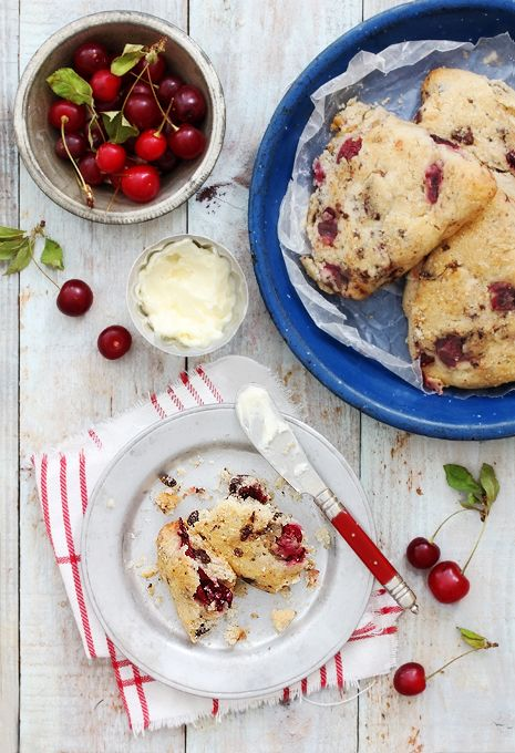 Sour Cherry Scones - Sour cherries and chocolate chips meet up to give the perfect balance to a sweet and sour breakfast treat.