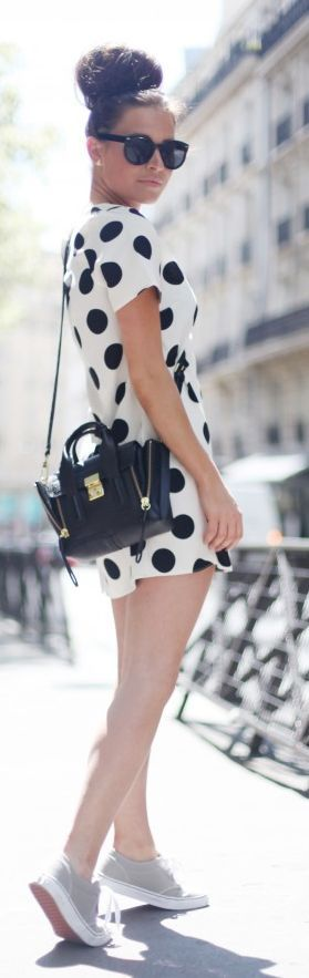 Bank Fashion White Black Polka Dot Shift Mini Dress