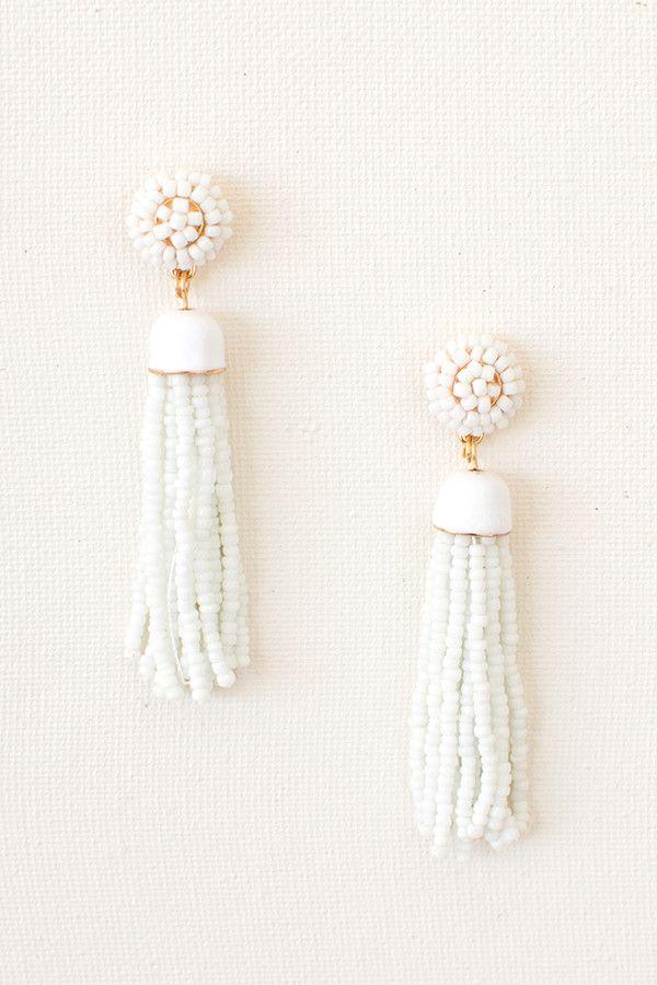 Blakely Seed Beaded Tassel Earrings - White