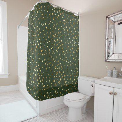 Glam gold splatter forest green shower curtain - foil leaf gift idea special template