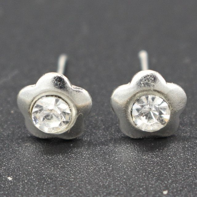 ES905 Hot New Design Cheap Simple Silver Gold Plated Crystal Flower Stud Earrings For Women Wholesale Jewelry Accessories Earing