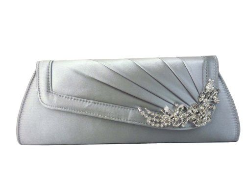 Ladies Evening Satin Clutch Bag Women Wedding Prom Party Bridal Diamante Handbag Silver Gold Red (Silver): Amazon.co.uk: Shoes & Bags