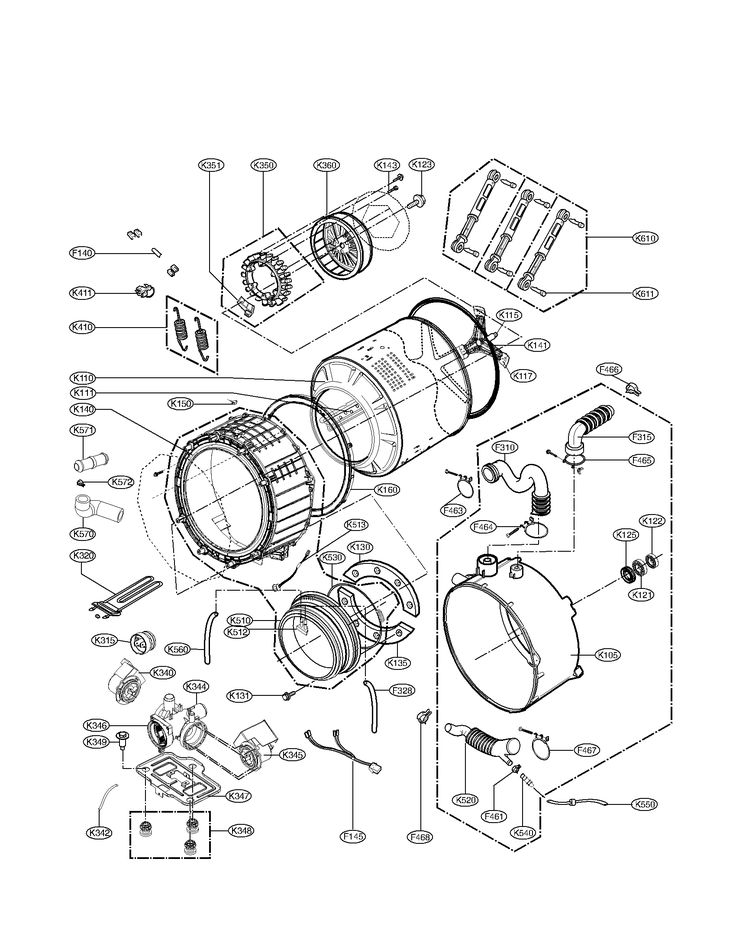 DRUM AND TUB ASSEMBLY PARTS Diagram & Parts List for Model 79642198900 KenmoreeliteParts