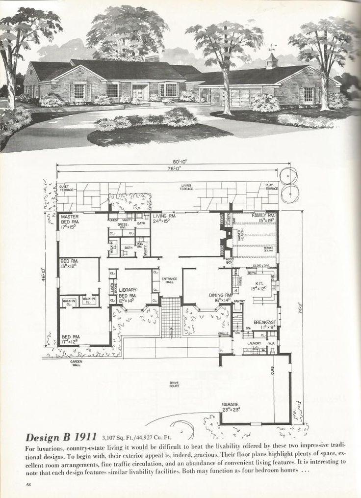 19 best vintage ranch floor plans images on pinterest for Vintage ranch house plans