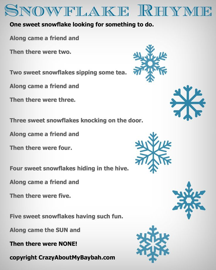 25 Winter and Christmas Crafts for Kids Felt Board Snowflake Rhyme #Toddlers #Preschoolers #Homeschool #FreePrintable