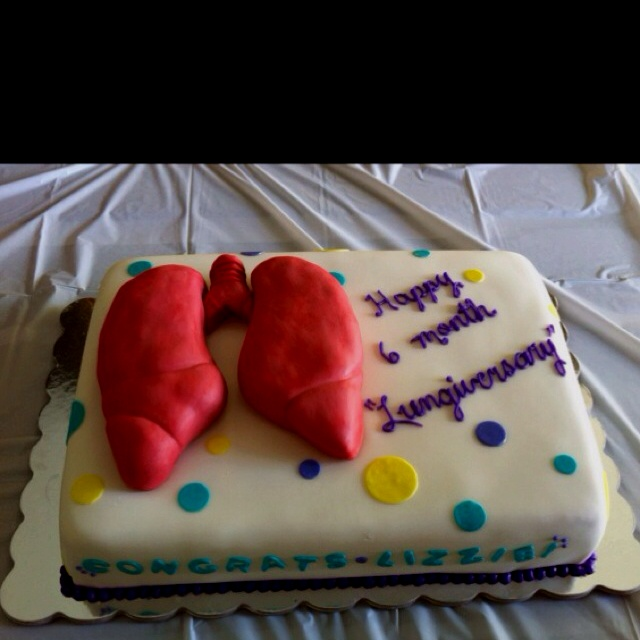 Cake I made for my sister-in-law's 6 month post lung transplant celebration...aka: Lungiversary Party