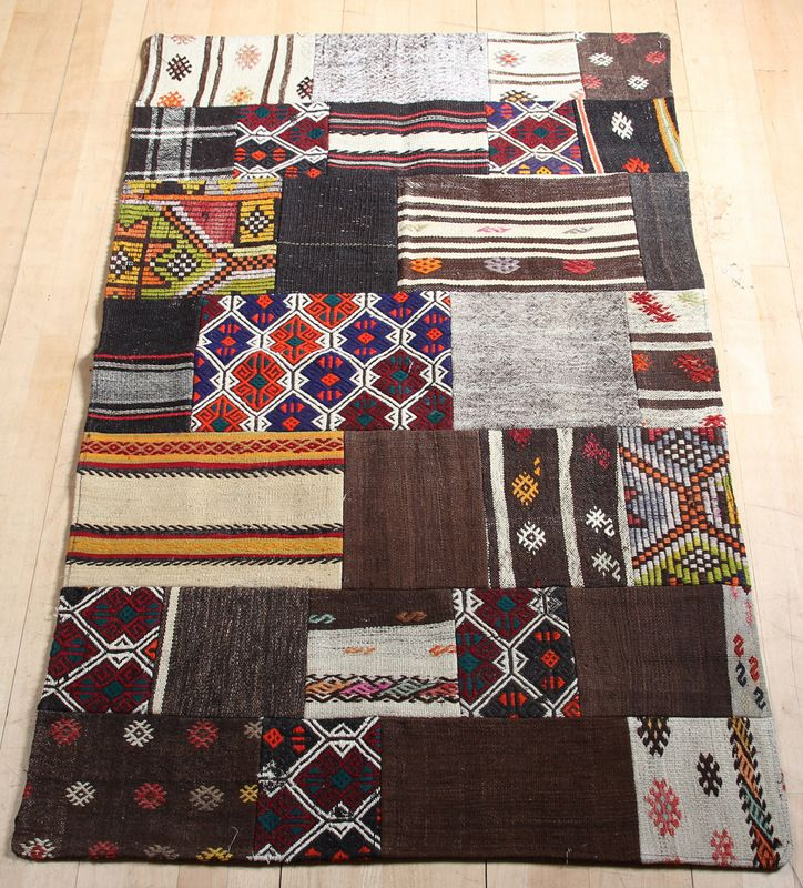 Bohemian Vintage Turkish Patchwork Kilim, Hand Made Using Fragments Of Old  Floor Coverings. From