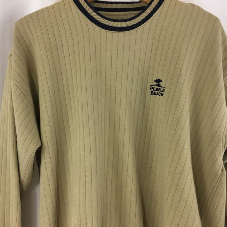 Mens Pebble Beach Long Sleeve Golf Sweater Sweatshirt Pullover Crewneck Tan Navy #PebbleBeach #Crewneck
