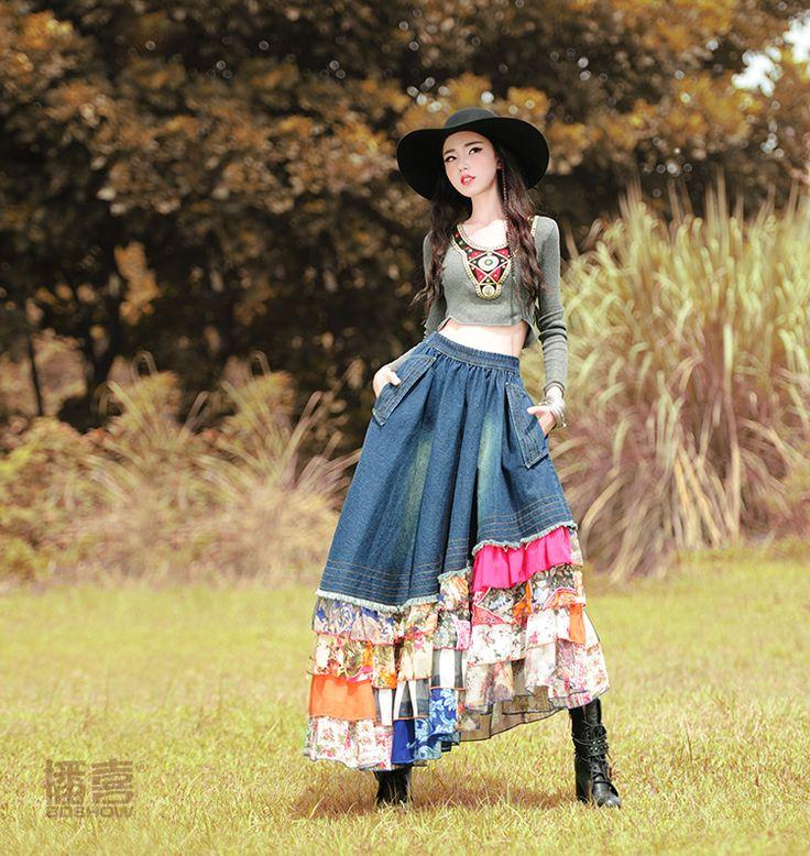 Livraison gratuite bohême longue Maxi femmes en mousseline de soie et Denim Patchwork Floral jupes à volants en couches taille élastique Irregural jupes dans Jupes de Femmes de Vêtements et Accessoires sur AliExpress.com | Alibaba Group