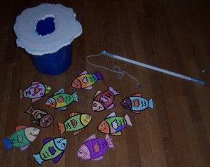 Ice fishing game (with magnets)... (except use a big tote instead of a small bucket)