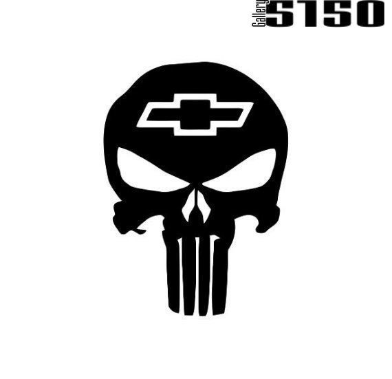 The Chevy Punisher Skull Decal (Choose Color) #Gallery5150