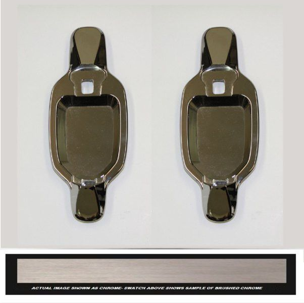 All Sales Brush Chrome LH & RH w/o Lock Rear Doors Buckets Only - It's time to lose the unsightly plastic door handle that come factory with your truck, and replace it with our solid billet assembly. These heavy duty brutes are not the imitation stick on overlays, these handles add security and style to your vehicle. Crafted here in the USA. Available finish options: polished chrome or brushed chrome.Fits: Chevy/GMC 04-13 Colorado/Canyon. Automotive. Weight: 3.00