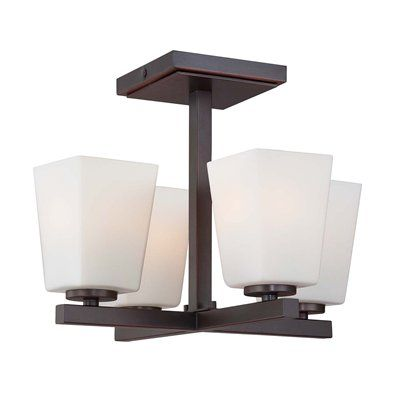 Minka Lavery 1542 4 Light City Square Semi Flush Ceiling Light $175