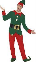 #Elf #kostuum met groene top en rode broek. Inclusief riem en hoed.