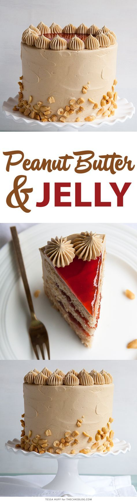 Peanut Butter & Jelly Cake | peanut butter cake with brown sugar peanut butter frosting, strawberry jam and chopped peanuts | by Tessa Huff for http://TheCakeBlog.com