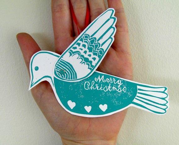 Christmas Dove Card Ornament Linocut print by ChantalVincent