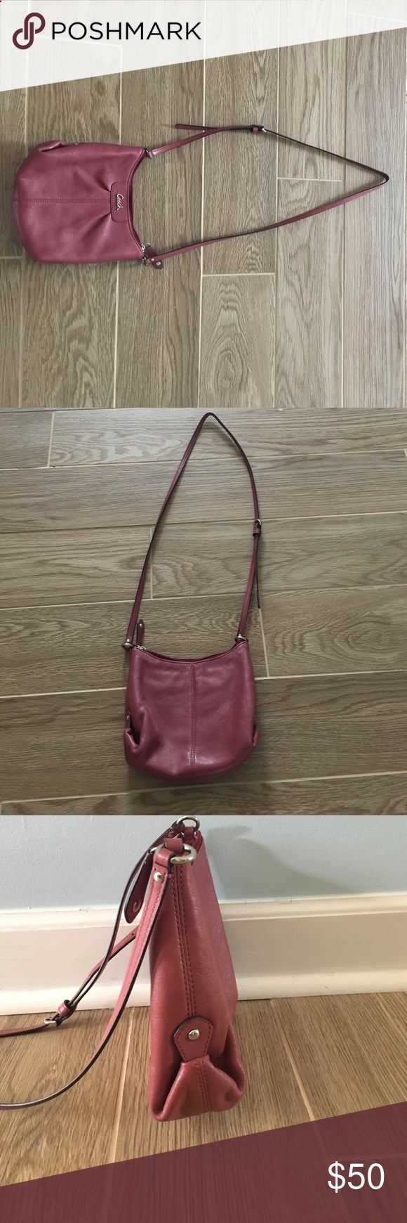 Coach Purse Small, pink, over the shoulder bag with light pink lining on the inside. In great condition and two pockets on the inside. Coach Bags Shoulder Bags