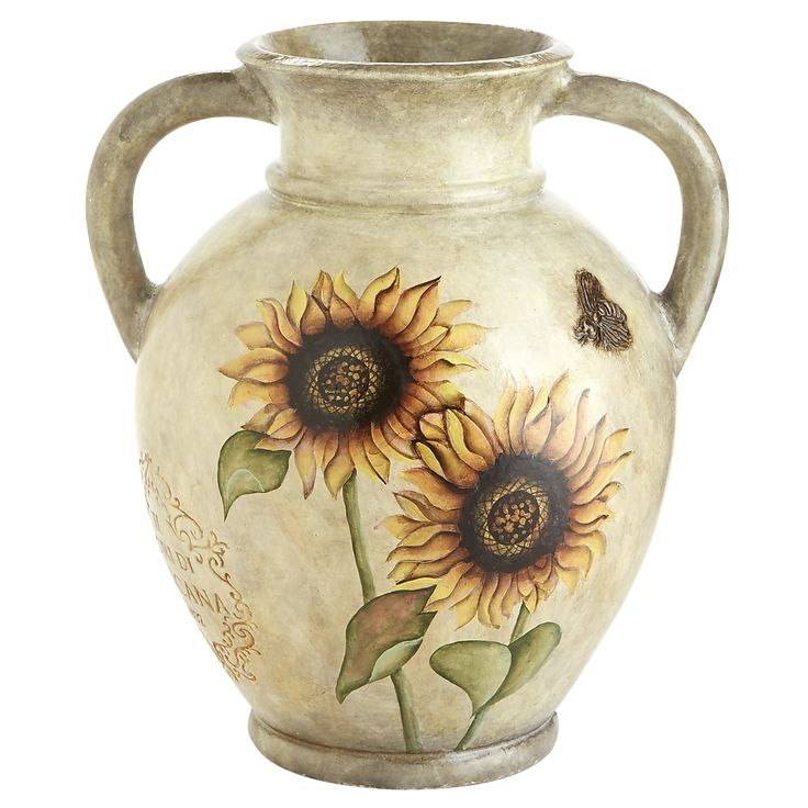 Multi Colored Hand Painted Sunflower Vase   Tall