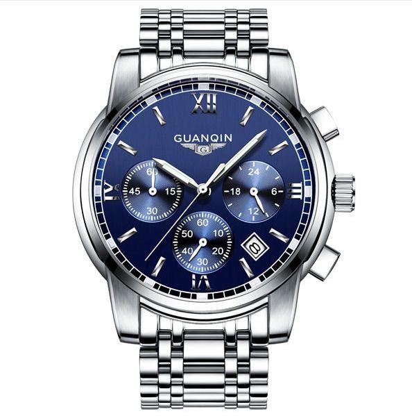 Watch Luxury Men Quartz Wrist Stainless Steel Fashion Sport Waterproof GUANQIN #GUANQIN #Luxury