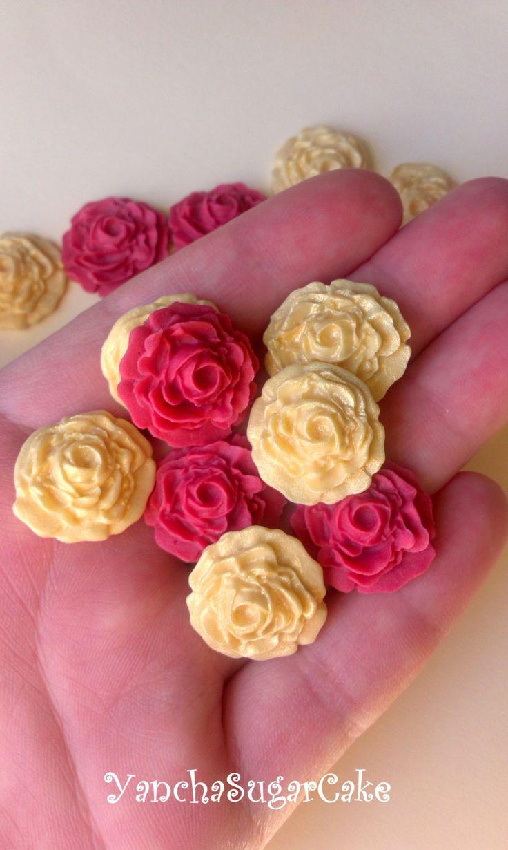 Fondant edible sugar mini roses set 24 Gold and Burgundy Gumpaste flowers Wedding Bridal shower Cupcake topper Cake Baby shower Christening by YanchaSugarCake on Etsy
