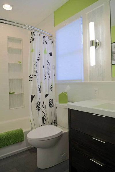 contemporary lime green, black, and white bathroom with curved shower rod... Straight Vs. Curved Shower Rods from Bathroom Bliss by Rotator Rod