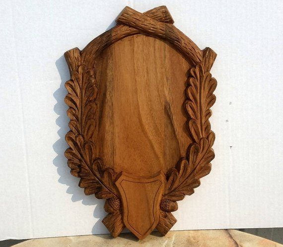 European Handmade Roe Deer Carved Hardwood Mounting Plaque Taxidermy Base