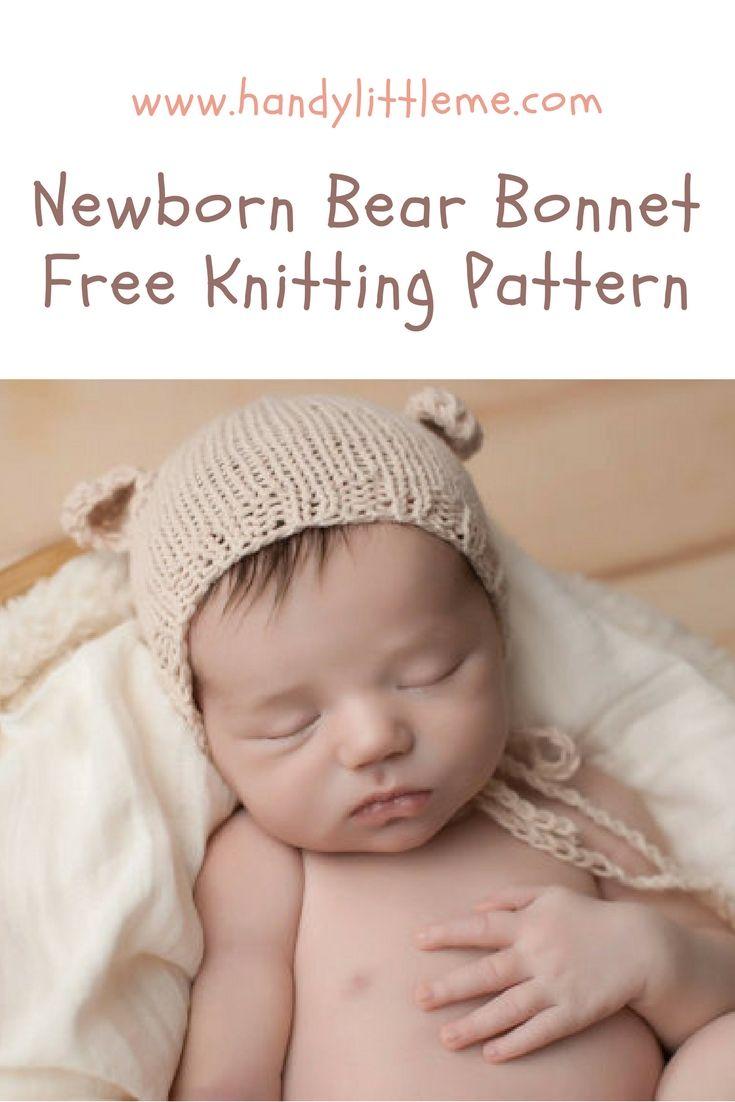 2563acbb5 Newborn bear bonnet free knitting pattern   Cute stuff   Knitting ...
