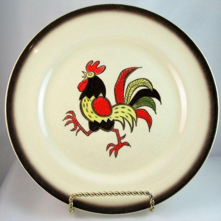 Metlox Poppytrail Red Rooster 10 inch Dinner Plate Midcentury Made in California #Metlox #Colonial