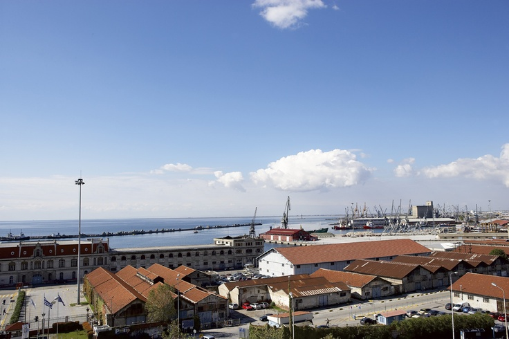 Thessaloniki's port from the Mediterranean Palace Hotel