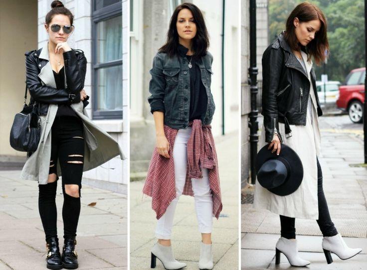Lagenlook-Mode-ideen-fruehling-layering-schwarze-lederjacke-langer-cardigan-zerrissene-jeans-weisse-ankleboots-kariertes-hemd