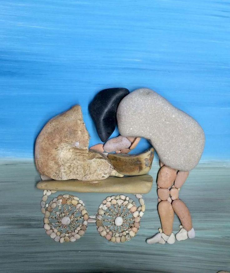 Tas картины из камней, найденных на побережье (34 фото)