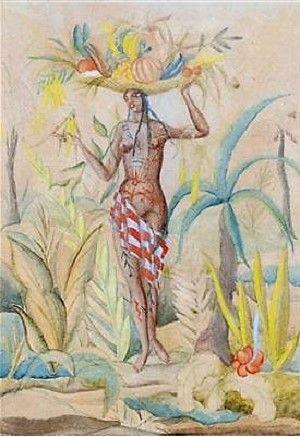 Vally Wieselthier  (Wien 1895 - 1945 New York) Frau mit Obstkorb, signiert Vally Wieselthier, verso bezeichnet: Indianersage, Hungersnot und Vally Wieselthier, Juni 1921, Aquarell, Bleistift auf Papier, 19 x 14 cm