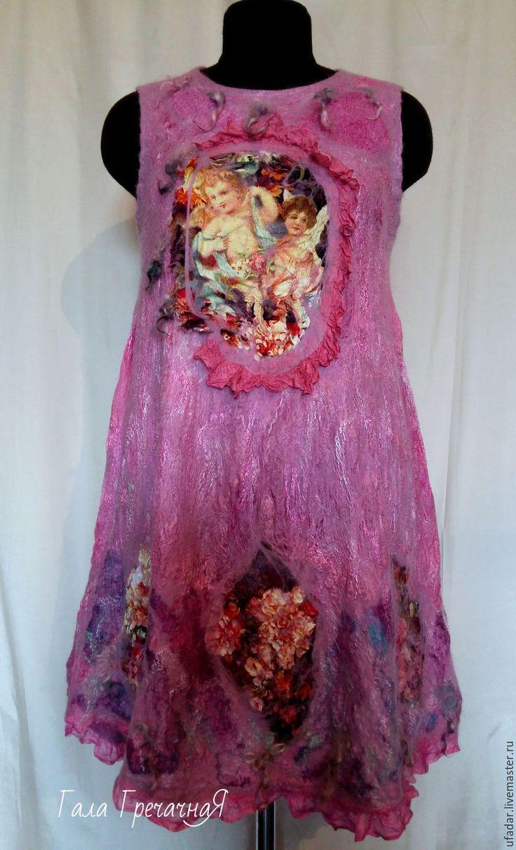 Купить валяный сарафан платье в стиле бохо Ангел в розовом - комбинированный, платье, Платье нарядное
