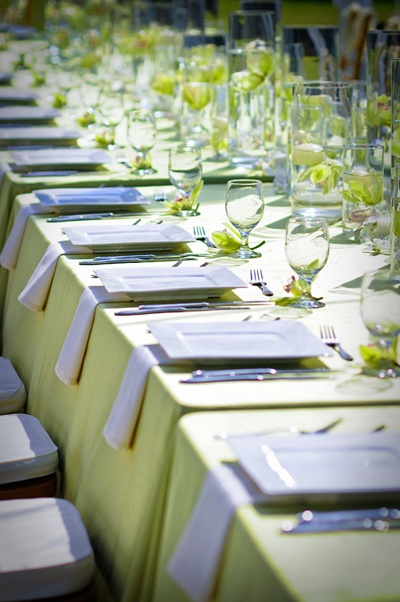 Mint Lime Green Linens With White Napkins From Flynn Garibay Events
