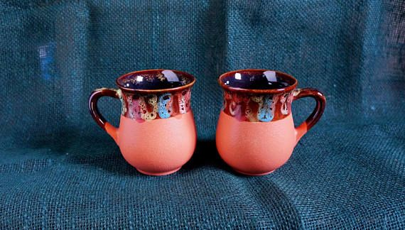 Fall gift ideas for mom Orange ceramic tea mugs Set of 2 cups