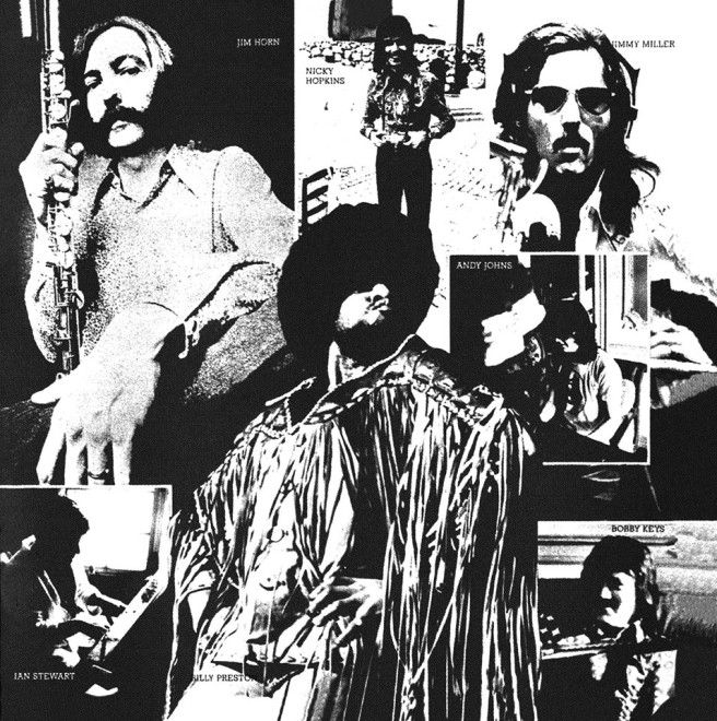 One side of the paper sleeve which contained the record, which featured images of the additional musicians on the album: Ian Stewart, Nicky Hopkins, Bobby Keys, Billy Preston, Andy Johns, Jimmy Miller, Jim Horn