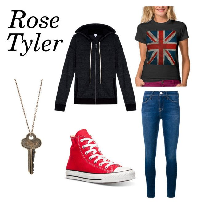 """""""Rose Tyler Inspired Outfit"""" by fangirl2021 ❤ liked on Polyvore featuring Frame Denim, Splendid, Converse and The Giving Keys"""