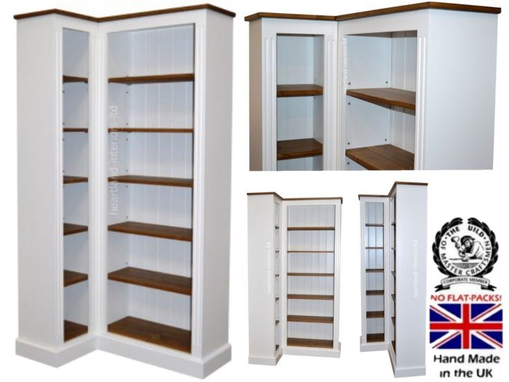 100 Solid Wood Corner Bookcase 6ft Handcrafted White Painted Contrasting Adjule Storage Display