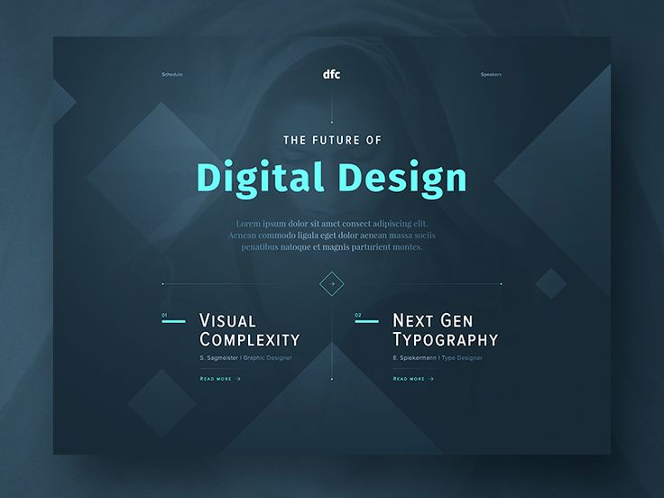 """Hi everyone,  played around with some elements and this is what came out of it! A concept shot of a landing page for a design conference – """"DFC"""". What do you think?  Huge props to the constant insp..."""