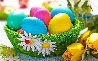 Scarica sfondi krashanki, pasqua, uova di pasqua, decorazione di pasqua, tulipani gialli
