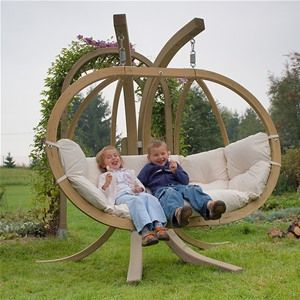 Globo Royal Double Wooden Garden Swing Seat & Stand