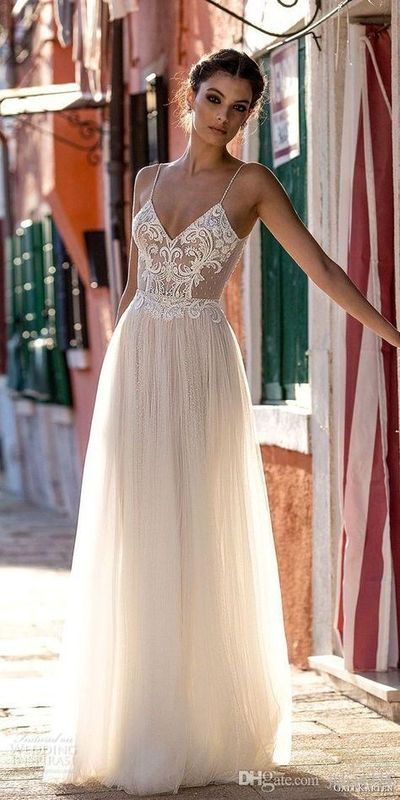 Bridal Gowns Lace Applique Berta Bohemian Spaghetti Straps V-Neck Backless Floor Length dress C462 from cutedressy