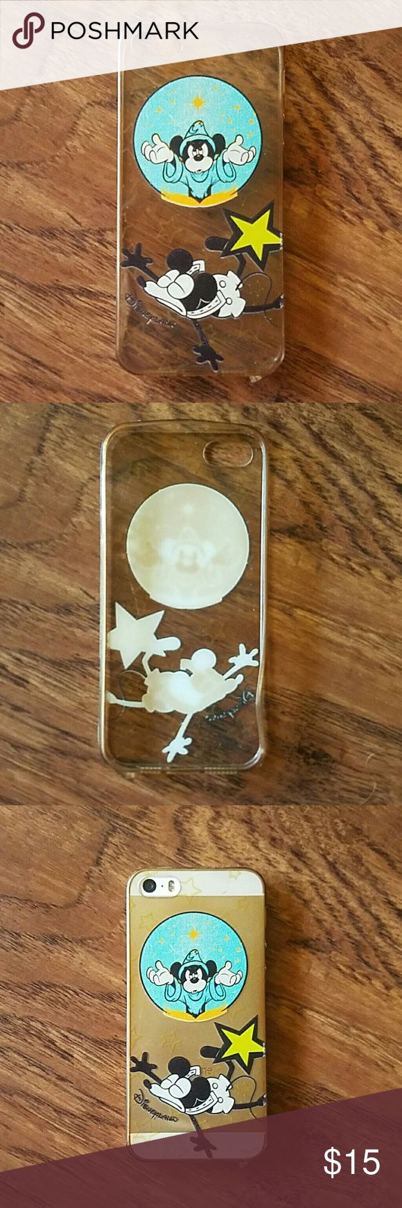 Disneyland IPhone case Mickey cartoon art iPhone 5s case. See through and rubber. SLIGHTLY USED Disney Accessories Phone Cases