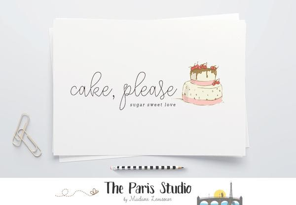 Hand Drawn Style Cake Bakery Logo Design