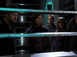 Joe Flanigan, David Hewlett, Torri Higginson, and Rachel Luttrell in Stargate: Atlantis (2004)