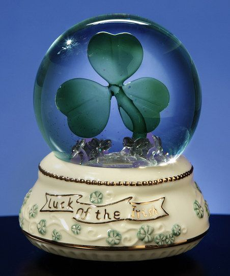 The luck of the Irish shines in this musical water globe that features a light-up shamrock and plays ''When Irish Eyes Are Smiling'' when wound.