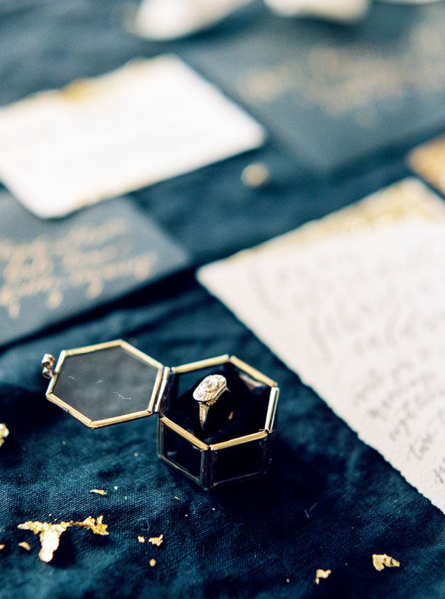 A moody winter wedding inspiration shoot filled with candlelight and exquisite black and gold details | Emily Katharine Photography: http://www.emilykatharine.com