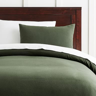 Easton Flannel Duvet Cover, Full/Queen, Olive Green