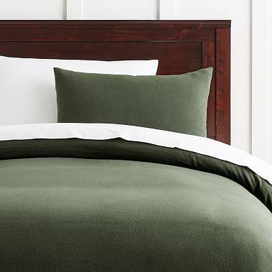 Easton Flannel Duvet Cover Full Queen Olive Green All
